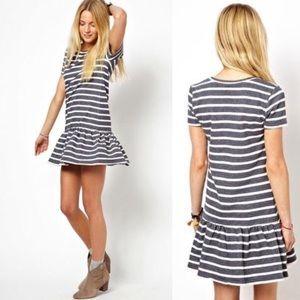 ASOS Petite Blue Stripe Drop Waist Sweat Dress